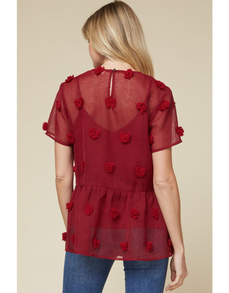 The Lady In Red Pom Pom Peplum Blouse