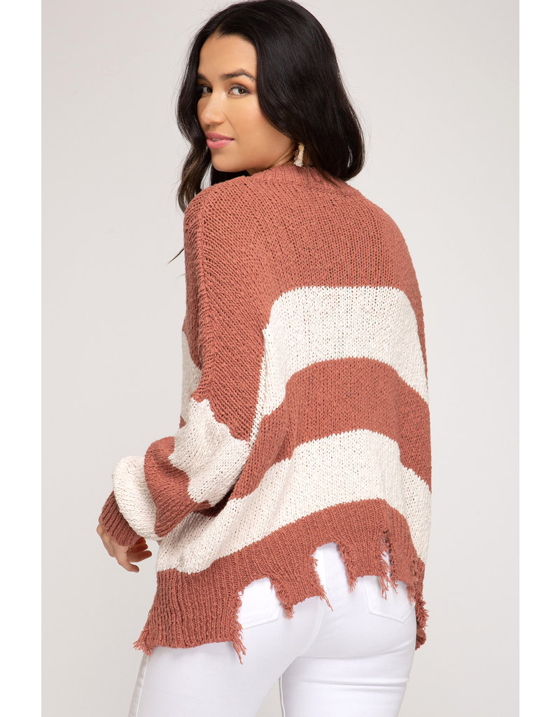 The Campfire Striped Distressed Sweater