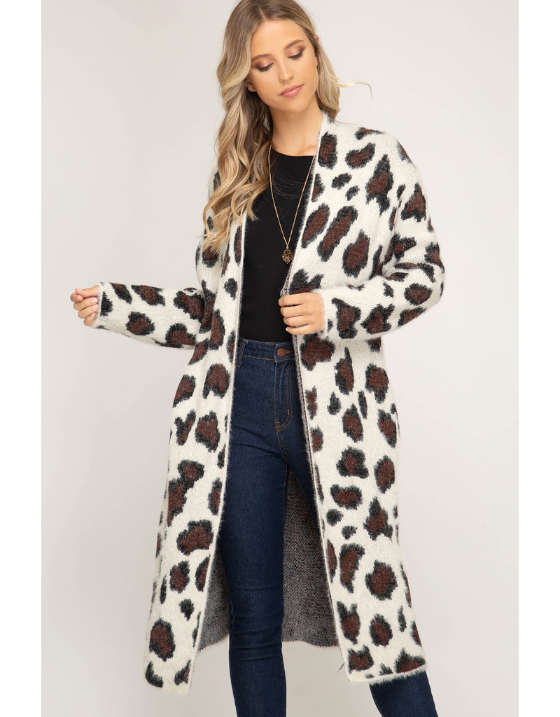 She & Sky Keep Your Promise Fuzzy Leopard Print Cardigan
