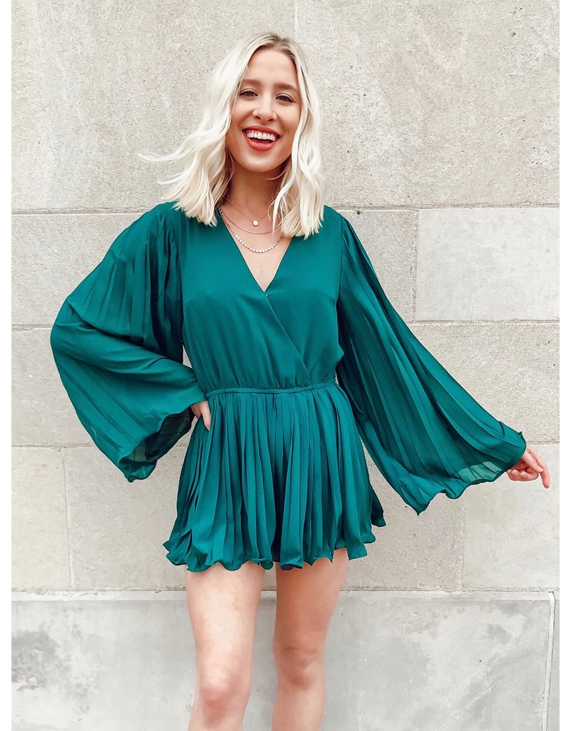 The Green Ivy Pleated Romper