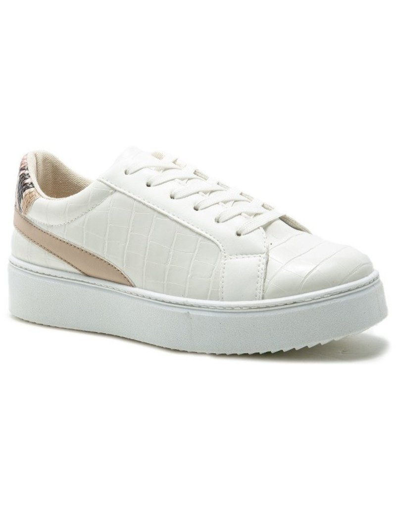 Qupid Abby Crocodile Embossed Sneaker - White