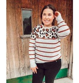 The Willa Leopard + Striped Sweater