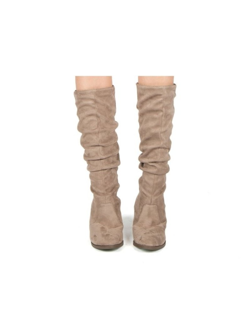 Qupid Faithful Heeled Boot - Taupe