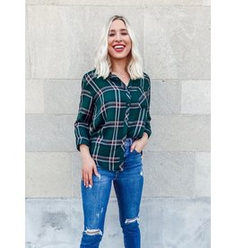Staccato Fall Into Autumn Button Down Plaid Top