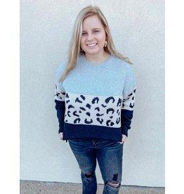 The Livin' In Leopard Color Block Sweater