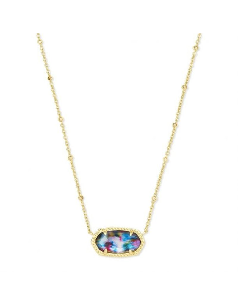 The Elisa Gold Satellite Pendant Necklace In Teal Tie Dye Illusion