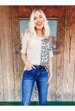The Charlie Leopard Print Color Block Tee