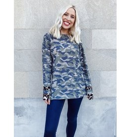 The Inventive Camo + Leopard Print Top