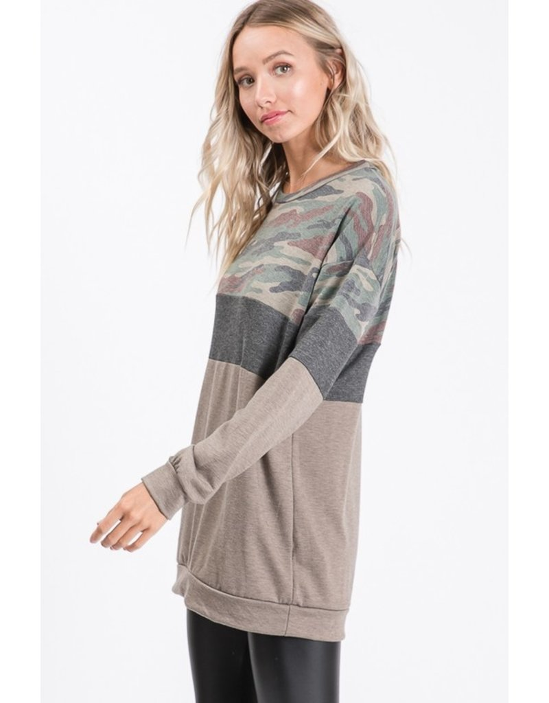 The Off The Clock Camo Color Block Top