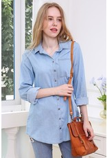 The Crisp Air Chambray Button Up Top