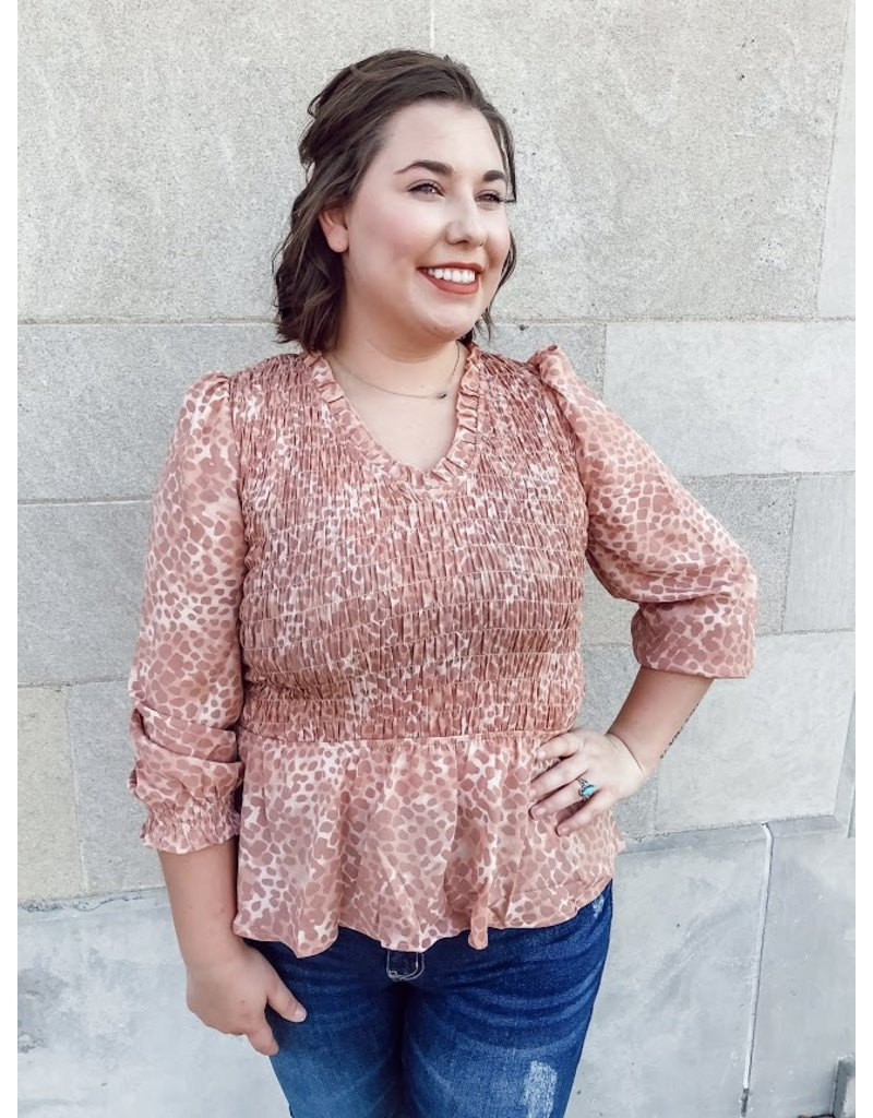 The Radiant Beauty Smocked Leopard Top