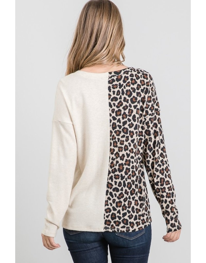 The Split Personality Leopard Color Block Top