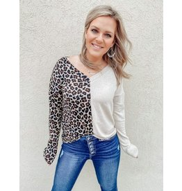 The Wild At Heart Leopard Color Block Top