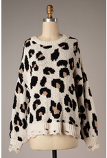 The Everyday Babe Leopard Distressed Sweater