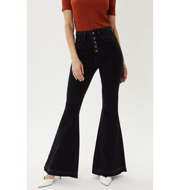 The Emilia Button Fly Bell Bottoms - Black