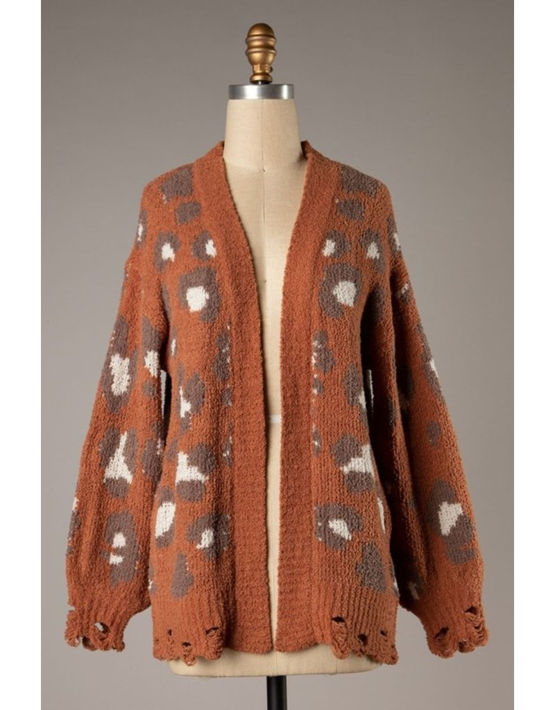 The Love Song Leopard Distressed Cardigan
