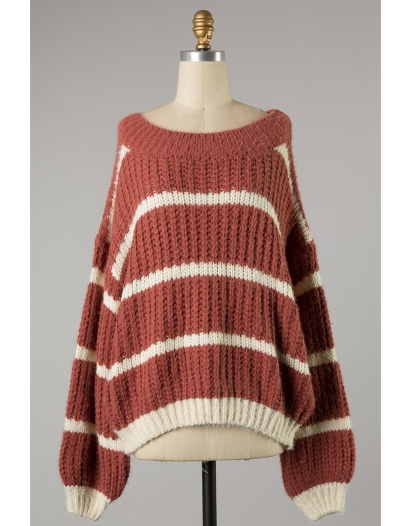 The Fine Line Striped Cable Knit Sweater