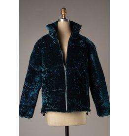 The Jewel Crushed Velvet Puffer Jacket