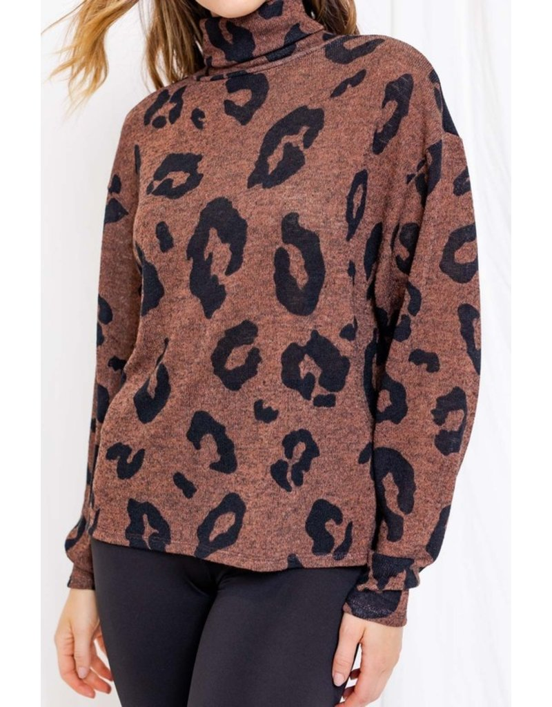The Let Me Love You Leopard Turtleneck Top
