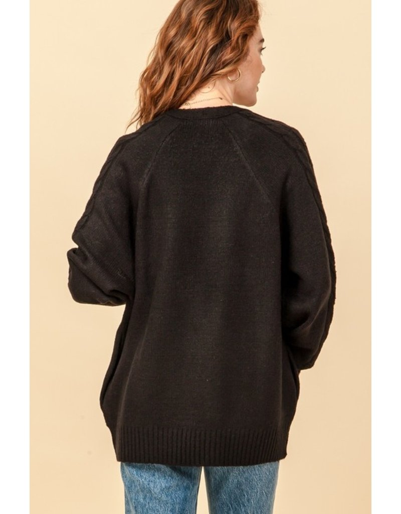 The Fingers Crossed Knit Cardigan - Black