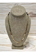 Mask Chain - Gold Discs with Black Beading