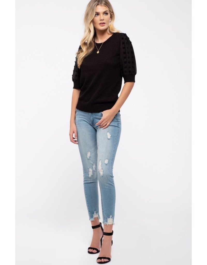 The In Perfect Form Swiss Dot Sleeve Knit Top