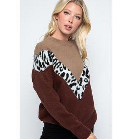 The Thinking Out Loud Leopard Color Block Sweater