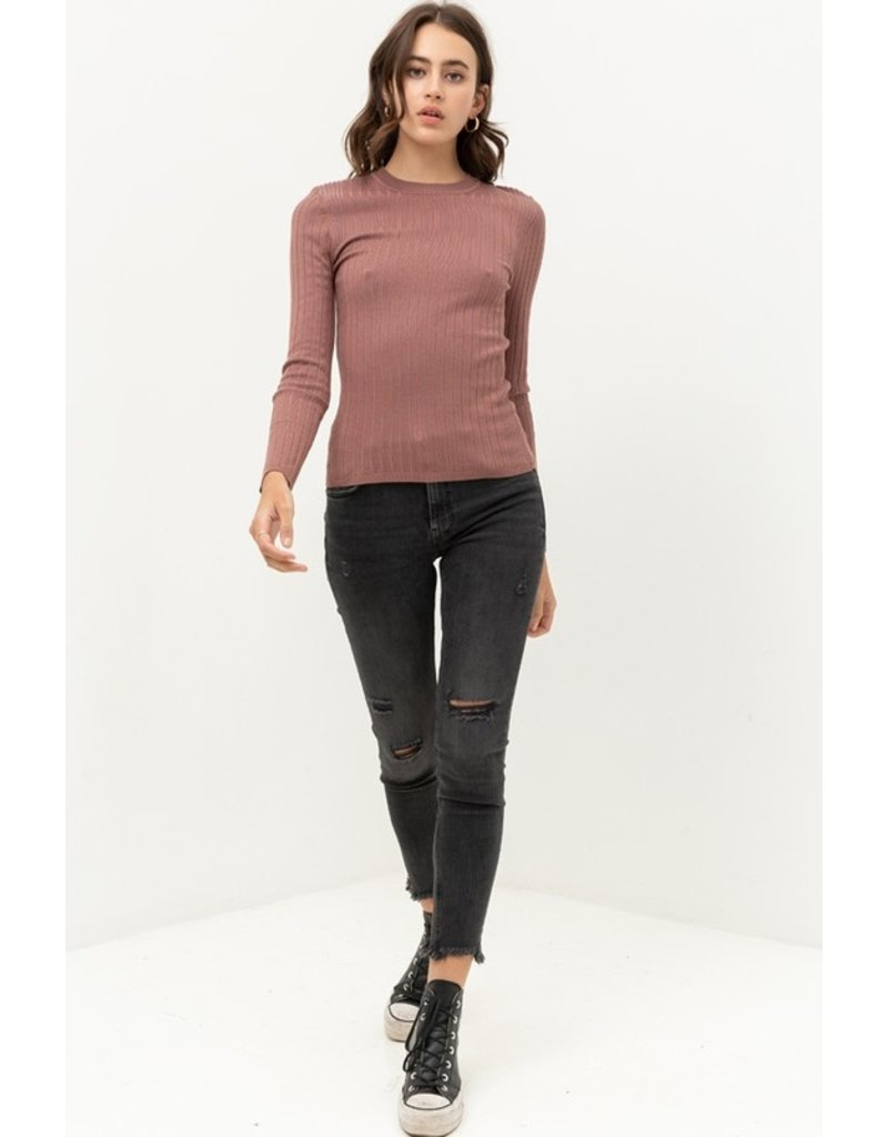 The Keep In Touch Fitted Ribbed Top