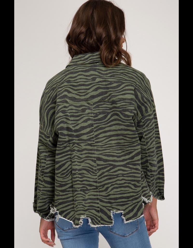 The Speak Now Zebra Distressed Jacket