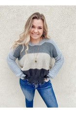 The Get The Picture Color Block Distressed Sweater