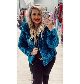 The Jewel Crushed Velvet Puffer Jacket