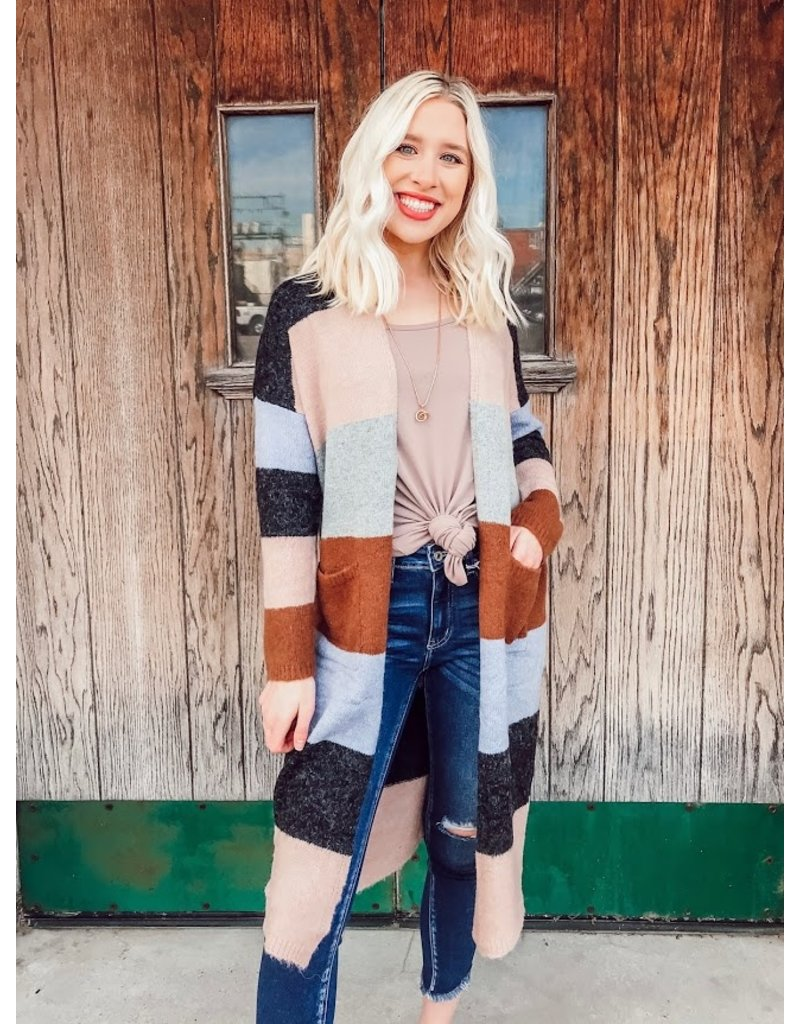 The Paint The Town Color Block Duster Cardigan
