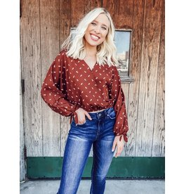 The Fall Adventure Cropped Wrap Blouse