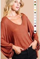 The Bubble Over Waffle Knit Top