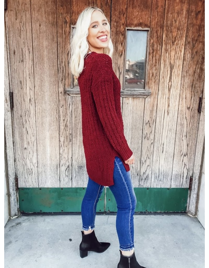 The Cabernet Popcorn Knit Sweater