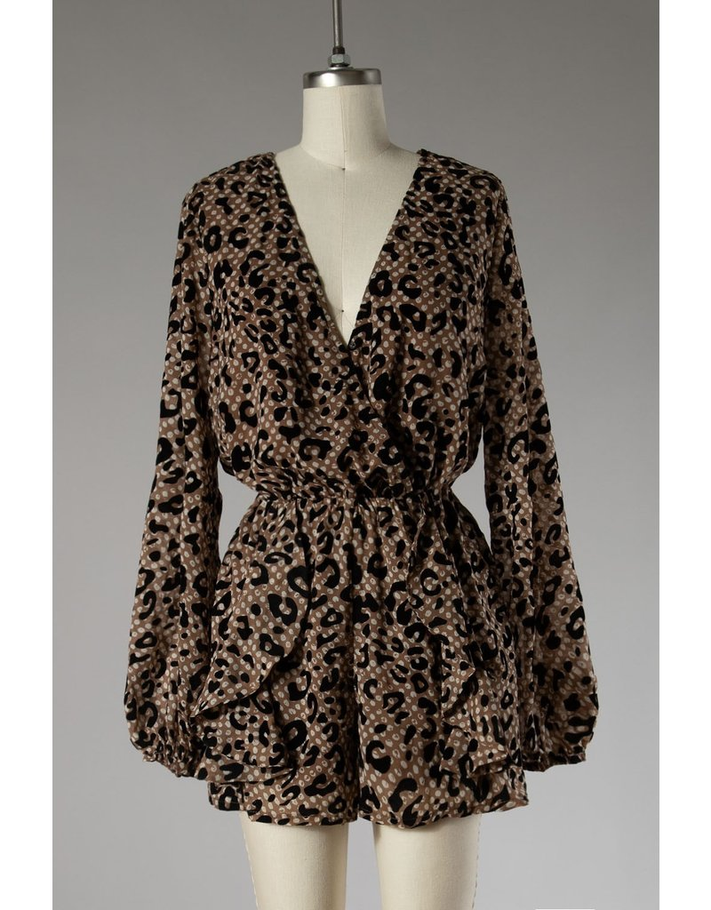 The A Night Out Velvet Leopard Romper
