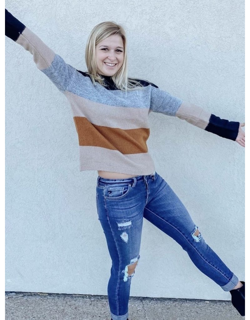 The Miley Color Block Sweater