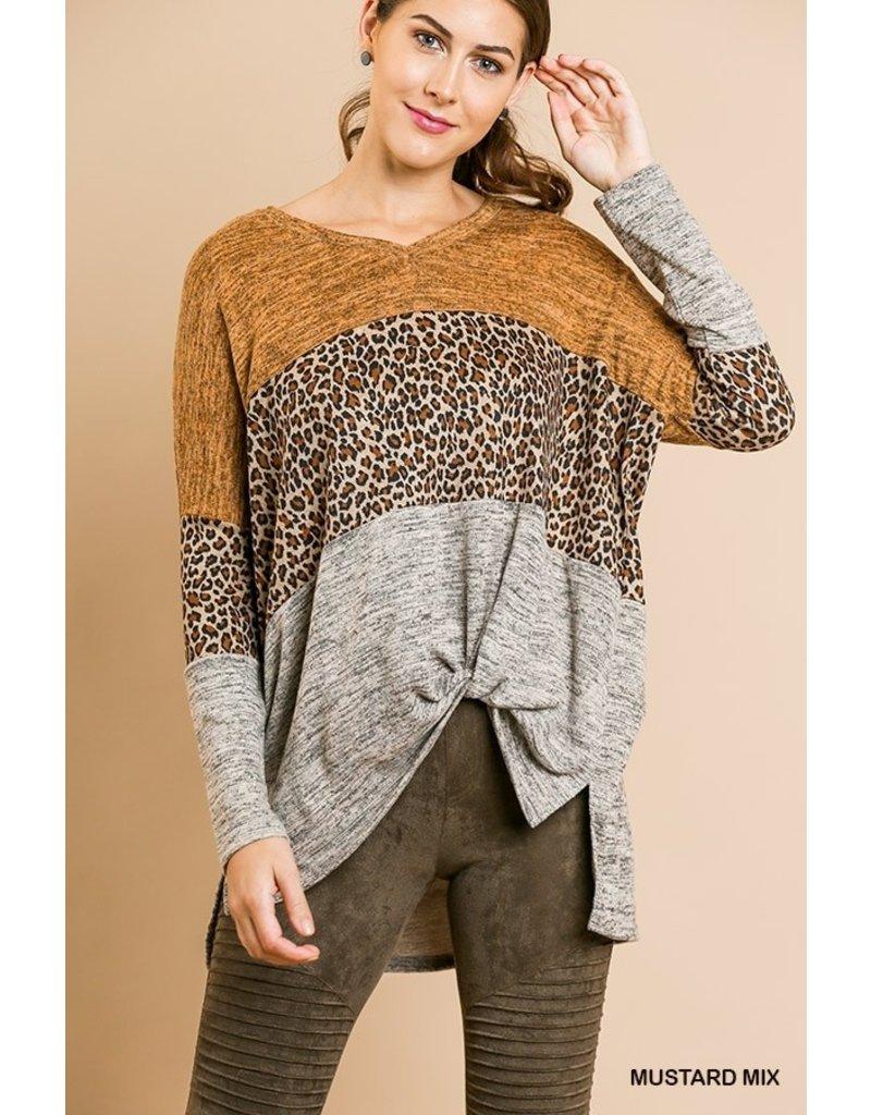 The Megan Leopard Color Block Top