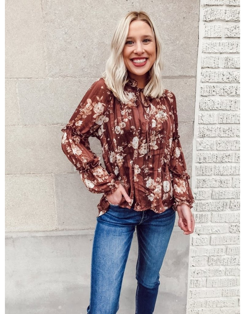 The Dreams Blossoming Floral Print Sheer Blouse