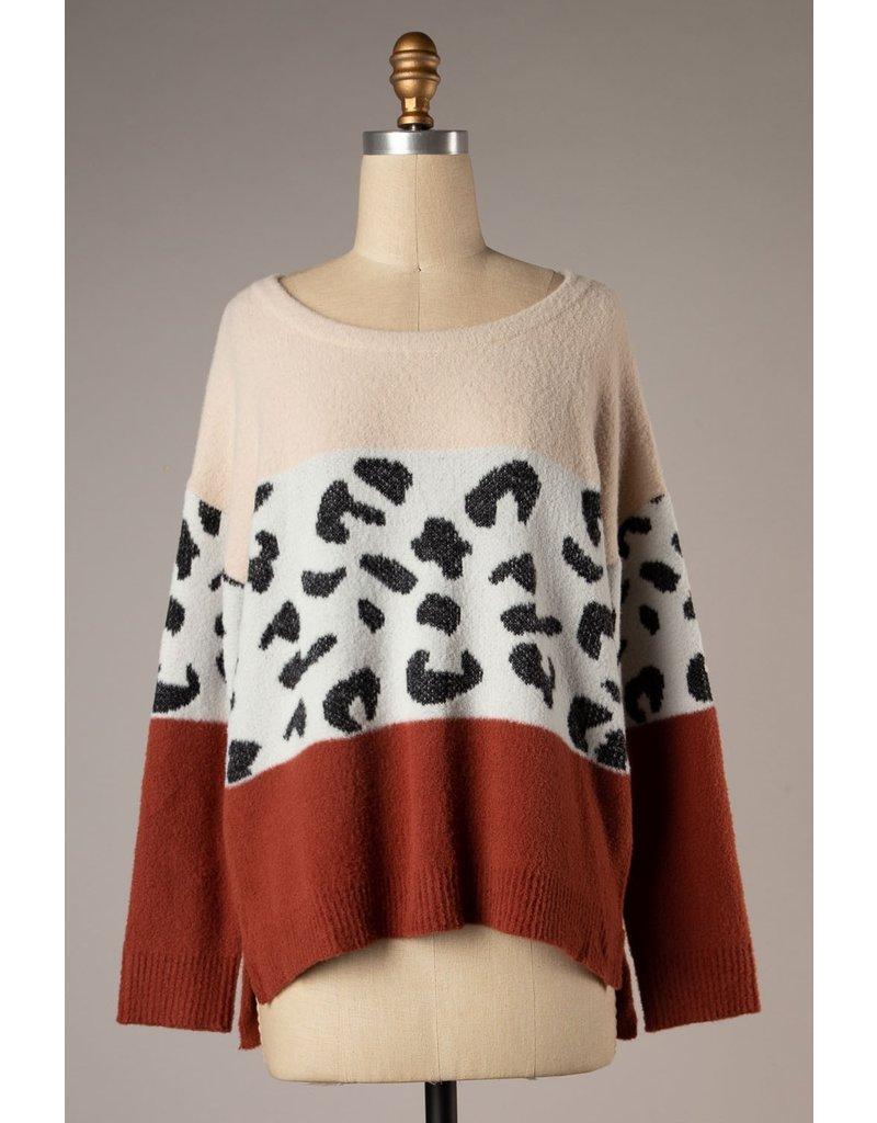 The Breathe Leopard Color Block Sweater