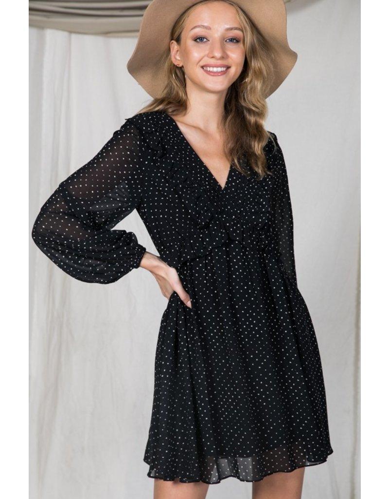 The Wait For You Ruffled Polka Dot Dress
