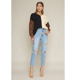 The Zoey Leopard Color Block Sweater