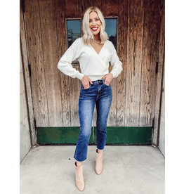 The Snow Globe Cropped Wrap Sweater