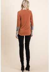 The Sugar And Spice Leopard Sleeve Top