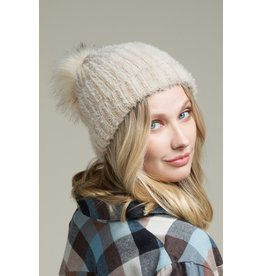 The Laura Soft Fuzzy Ribbed Beanie - Beige