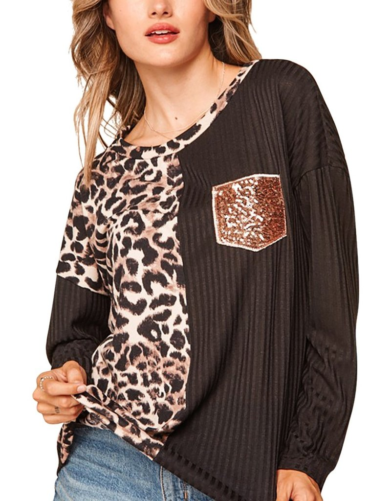 The Bling Bling Leopard Color Block Top