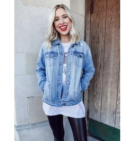 The Better With You Light Wash Distressed Denim Jacket