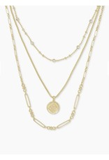Kendra Scott Medallion Coin Multi Strand Necklace In Gold