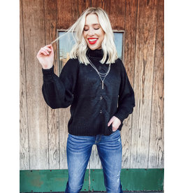 The Infinity Cable Knit Sweater - Black