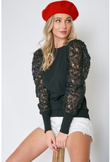 The Under The Mistletoe Textured Puff Sleeve Top